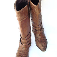Vtg leather cowboy boots Long Fall boots Brown leather boots Western Buckle Boots Boho boots Vintage leather shoes
