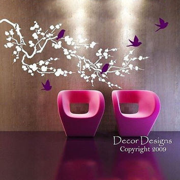 Large Birds Around the Cherry Blossom Branch Vinyl Wall Decal Sticker.