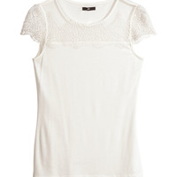 H&M - Lace Top - White - Ladies