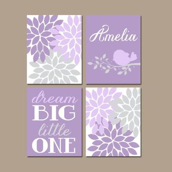 Lavender Nursery Wall Art, Bird Flower Nursery, Baby Girl Lilac Nursery Decor, Dream Big, Canvas or Prints, Bedroom Pictures, Set of 4