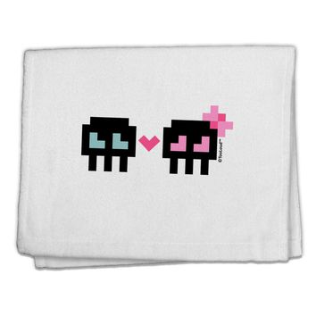 "8-Bit Skull Love - Boy and Girl 11""x18"" Dish Fingertip Towel"