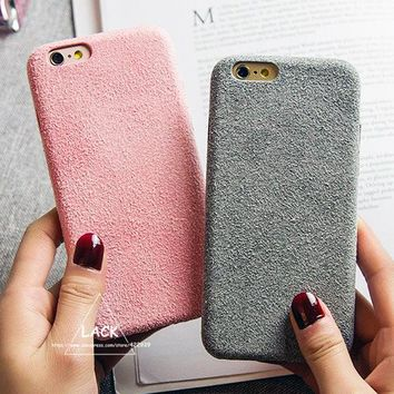 LACK Vintage Candy Color Fuzzy Case For iphone 6 Case Luxury Soft TPU Slim Back Cover Phone Cases For iphone 6S 6 Plus Capa HOT