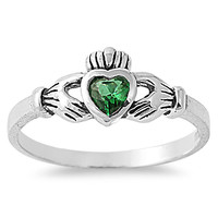 925 Sterling Silver CZ Gift of the Claddagh Simulated Emerald Ring 7MM