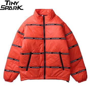 Orange Retro Jacket Winter Parkas Streetwear Hip Hop Windbreaker Padded Jacket Urban Clothing Mens Winter Jackets and Coats
