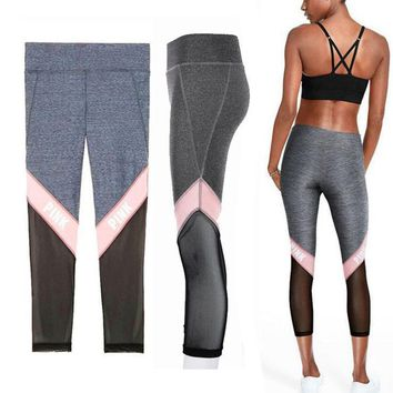 Day-First™ Victoria's Secret PINK Net yarn Splicing Tight Gym Yoga Running Leggings
