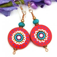 Red White Turquoise Mandala Flower Earrings Painted Wood Boho Jewelry