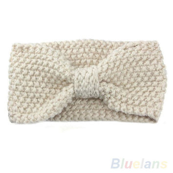 Winter Babys Ear Warmer Headwrap Xmas Girls' Crochet Headband Knit Bow Hairband