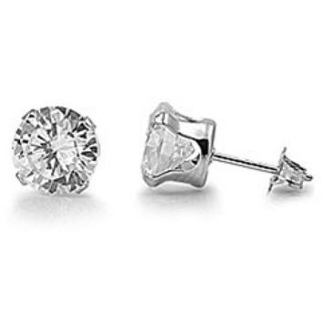 Stainless Steel Cubic Zirconia Stud Earrings (Clear Cubic Zirconia) - Walmart.com