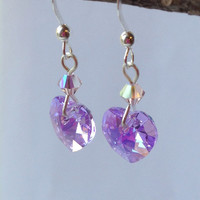 Sterling Silver Lavender Heart Earrings with Swarovski Crystals, Free Shipping anywhere in the USA