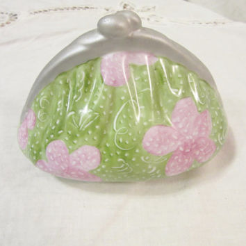 Purse Bank, Lilly Pulitzered Style, Porcelain Ceramic Pottery Hand Painted and Kiln fired