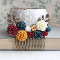 Autumn Bridal Hair Comb Fall Wedding Navy Blue Rose Golden Mustard Yellow Rustic Country Floral Collage Bridesmaid Gift Marsala Deep Red