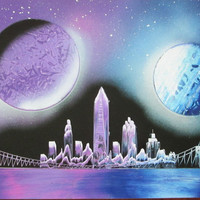 new york city spray paint art,purple blue painting,new york home decor,new york gifts,space decor,kids room decor,birthday,space poster