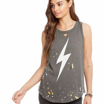 Women's Chaser Brand Distressed Graphic Muscle Tank