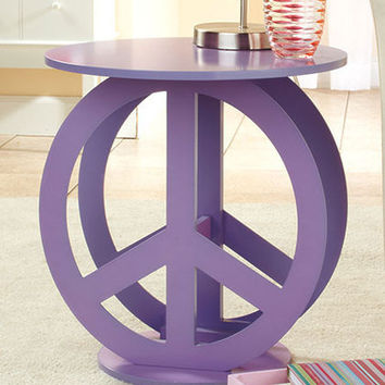 Cool Purple Groovy Retro Peace Sign End Table Night Stand Bedroom Teen