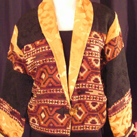 Southwest Aztec Tribal Inspired Tapestry Cropped Jacket 80s Flashback