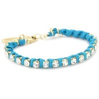 Ettika Gold Colored Rhinestone Chain and Turquoise-Color Deerskin Leather Bracelet - designer shoes, handbags, jewelry, watches, and fashion accessories   endless.com
