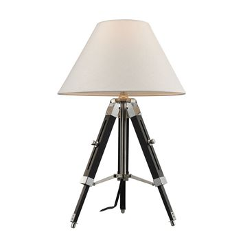 D2125 Studio Table Lamp In Chrome And Black With Woven Linen Shade