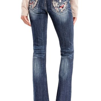 Miss Me Jeans Break Through Angel of Mine Fallen Angels Wings Medium Wash Mid-Rise Boot Cut