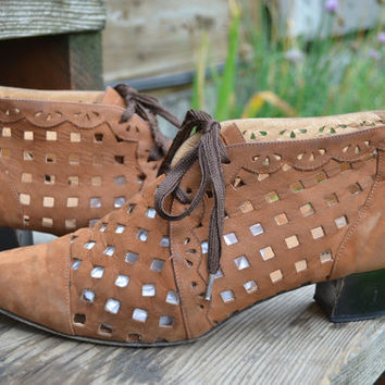 Vintage 80's Avant Garde Italian Cut Out Leather Lace Up Heels, 8