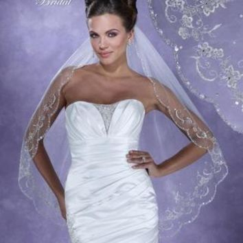 Symphony Bridal 6104VL Dramatic Beaded Fingertip Wedding Veil