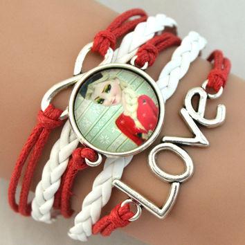 Fashion Froze  fashion jewelry Chain Froze  Girls Elsa Anna Heart Charm Bracelet Cartoon Kids Gift Froze Bracelet