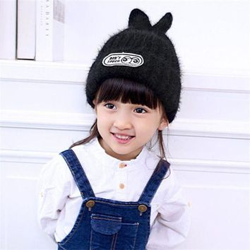 LMF78W 2016 New Creative Design Small Rabbit Children's Wool Cap Winter Fashion Warm Knit Hat for Girl Gift