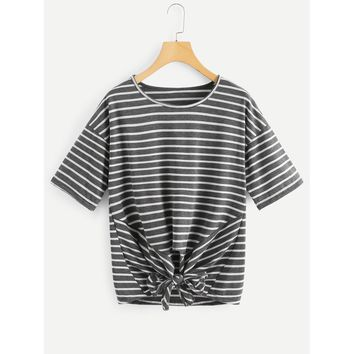 Drop Shoulder Knot Front Striped Tee