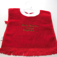 Red Christmas Embroidered Bib Funny Santa I can Explain Embroidered