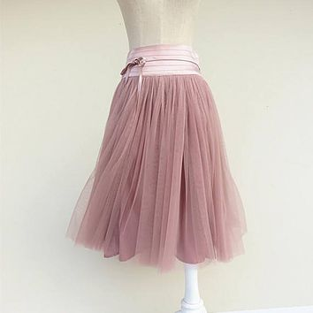 04abc0d2c Summer Women Pleated Midi Skirt Girls Puff Pink Tulle Tutu Skirt High Waist  Midi Knee length