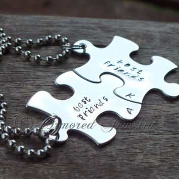 Hand Stamped Best Friends Puzzle Pieces set of 2 - 3 - 4 - 5 - 6 (keychains or necklaces) Interlocking pieces Stainless Steel