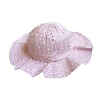 PEAP78W Summer Cotton Bucket Hat Toddler Children Girls Brim Beach Hat With Wide Brim Kids Pink Sun Hat