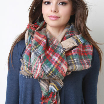 Dusky Multicolor Plaid Square Scarf