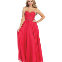 Raspberry Beaded Strapless Ruched Sweetheart Floral Dress 2015 Prom Dresses