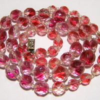Art Deco Bicolor Faceted Glass Bead Necklace, Graduated Pink Crystal Beads, Bridal Jewelry, Art Glass Beads 1017