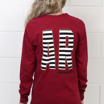 AR Gold Stripe Initial Long Sleeve {Chili Pepper}