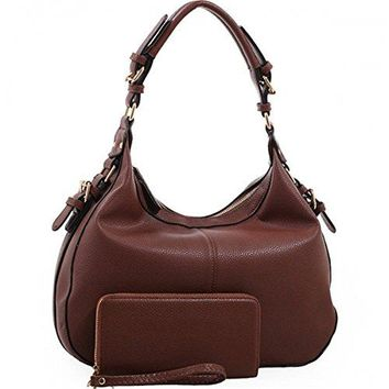 Chloe Lock and Key Concealed Carry Gun Pocket Soft Leather Purse Handbag with Matching Wallet (Coffee)