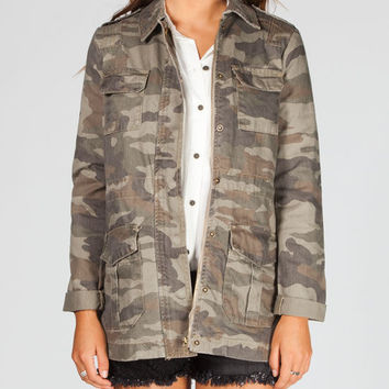 Hippie Laundry Camo Womens Anorak Jacket Camo Green  In Sizes