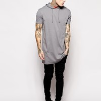 ASOS Super Longline T-Shirt With Hooded Skater Fit at asos.com