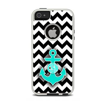 The Teal Green Monogram Anchor on Black & White Chevron Apple iPhone 5-5s Otterbox Commuter Case Skin Set