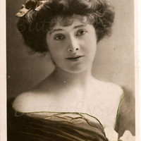 Real Photographic Hand Tinted Postcard Isabel Jay- Edwardian Opera Singer-RPPC-1907-English Beauty