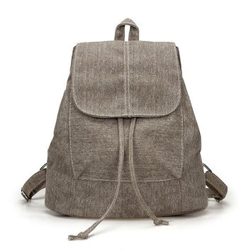 Canvas Womens Backpack Drawstring School Bags for Tenagers