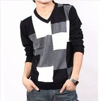 Hot selling casual men knitwear sweater v-neck slim fit plaid thin pullovers men clothings 0419