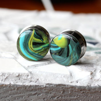 "3/4"" Ear Plugs, Green Gauges, OOAK Ear Plugs, Unique Plugs, Double Flare, Stretched Ears - size 3/4"" (19mm)"
