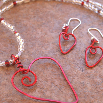 Valentine Red Aluminum Heart Choker Earring Set , Handmade Love Jewerly Set , Red White Silver Wire Wrapped Heart Necklace Earring Set
