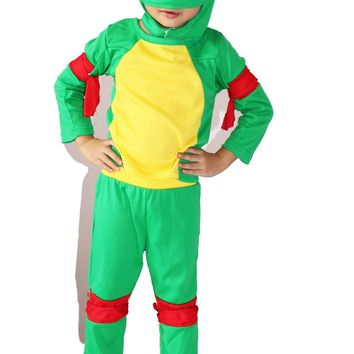 3-7 years Cosplay Party muscle Boy  role play clothing kid leo / Baby Halloween Costume (Turtle shell is hot stamping)
