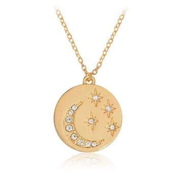 Stars and Crescent Moon Metal Embossed Pendant Necklace With Rhinestones