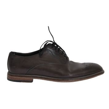 Dolce & Gabbana Brown Leather Wingtip Laceups Shoes