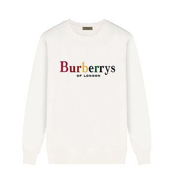 Burberry Autumn And Winter New Fashion Multicolor Letter Print Women Men Long Sleeve Top Sweater White