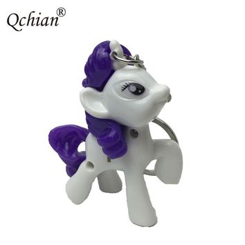My little Ponys Keychain for Kids toys Women Bag Pendant Little Horse Key Chains With Sound Light LED Keyholder
