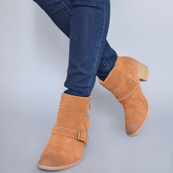 Avenue Buckle Booties Camel
